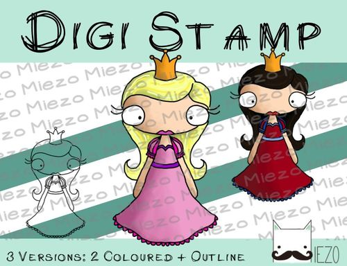 Digitaler Stempel, Digi Stamp Prinzessin, 2 Versionen: Outlines, in Farbe