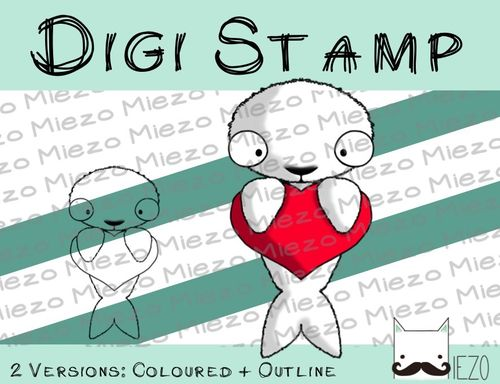 Digitaler Stempel, Digi Stamp Robbe, 2 Versionen: Outlines, in Farbe