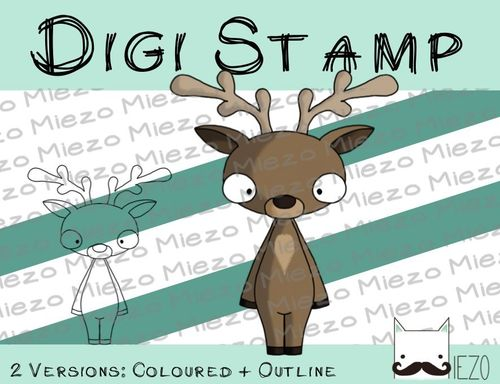 Digitaler Stempel, Digi Stamp Rentier, 2 Versionen: Outlines, in Farbe