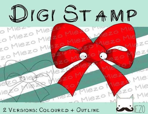 Digitaler Stempel, Digi Stamp Schleife, 2 Versionen: Outlines, in Farbe