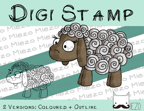 Digitaler Stempel, Digi Stamp Schaf (Krippenfigur), 2 Versionen: Outlines, in Farbe