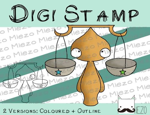 Digitaler Stempel, Digi Stamp Waage, 2 Versionen: Outlines, in Farbe