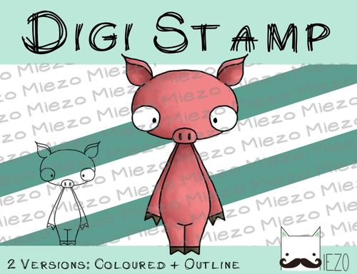 Digitaler Stempel, Digi Stamp Schwein, 2 Versionen: Outlines, in Farbe