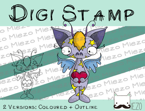 Digitaler Stempel, Digi Stamp Sternchenmonster, 2 Versionen: Outlines, in Farbe