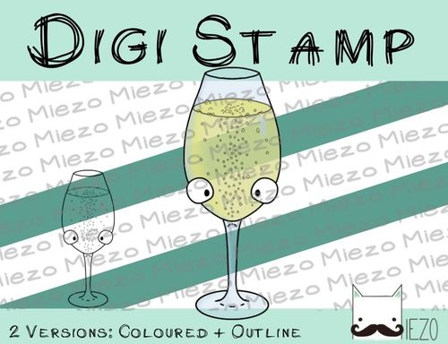 Digitaler Stempel, Digi Stamp Sekt, 2 Versionen: Outlines, in Farbe