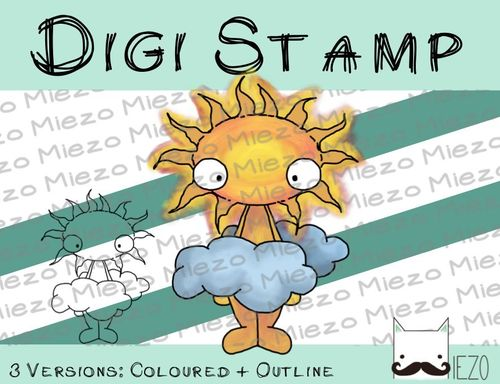 Digitaler Stempel, Digi Stamp der Tag, 2 Versionen: Outlines, in Farbe