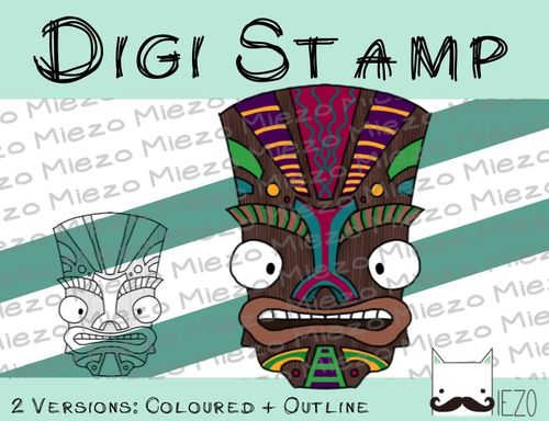 Digitaler Stempel, Digi Stamp Tikimaske, 2 Versionen: Outlines, in Farbe