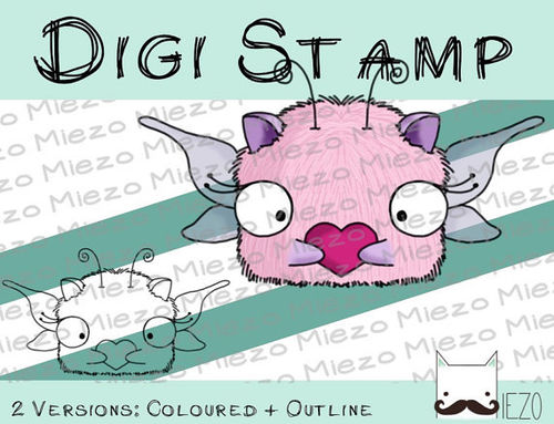 Digitaler Stempel, Digi Stamp Valentinsmonster, 2 Versionen: Outlines, in Farbe