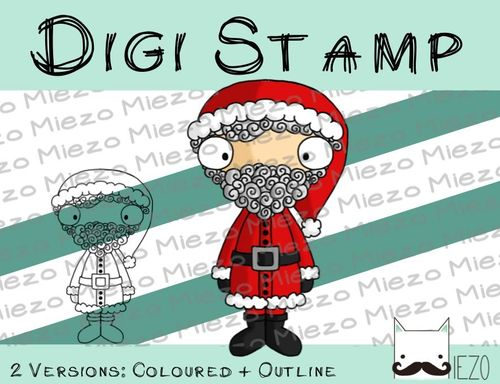 Digitaler Stempel, Digi Stamp Weihnachtsmann, 2 Versionen: Outlines, in Farbe