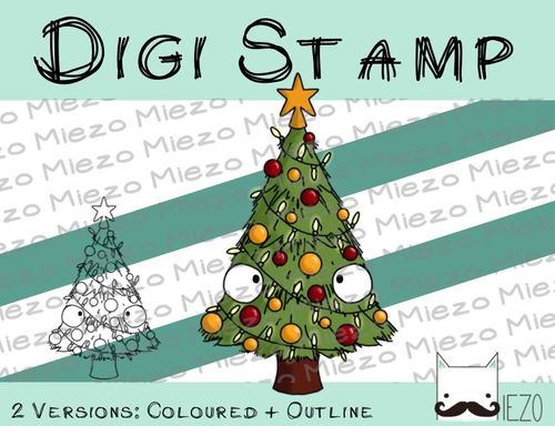 Digitaler Stempel, Digi Stamp Weihnachtsbaum, Christbaum, 2 Versionen: Outlines, in Farbe