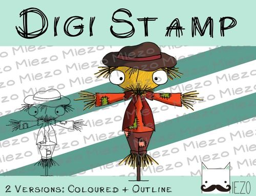 Digitaler Stempel, Digi Stamp Vogelscheuche, 2 Versionen: Outlines, in Farbe