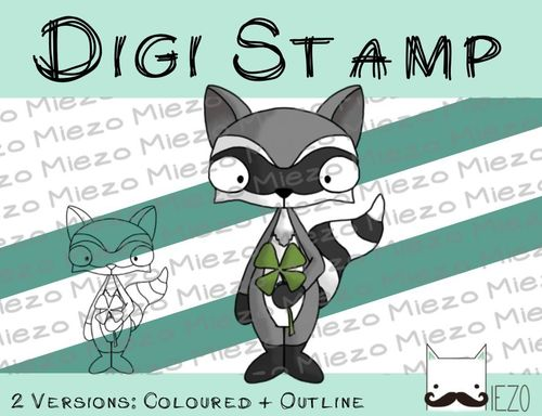 Digitaler Stempel, Digi Stamp Waschbär, 2 Versionen: Outlines, in Farbe