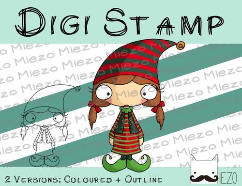 Digitaler Stempel, Digi Stamp Wichtelfrau, 2 Versionen: Outlines, in Farbe