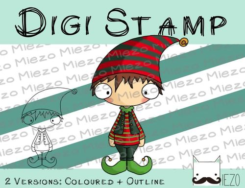 Digitaler Stempel, Digi Stamp Wichtel, 2 Versionen: Outlines, in Farbe