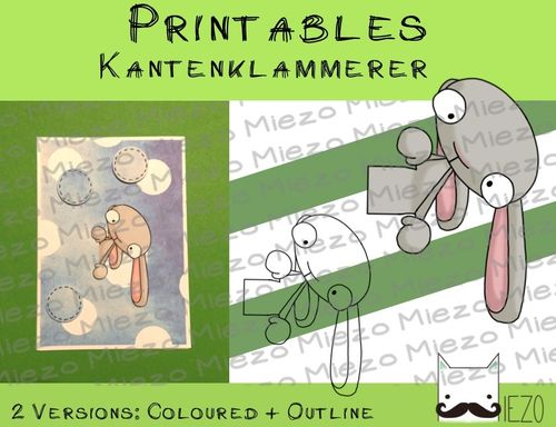 Printables Kantenklammerer Hase, 2 Versionen: Outlines, in Farbe