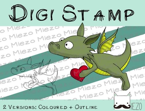 Digitaler Stempel, Digi Stamp Drache mit Herz, 2 Versionen: Outlines, in Farbe