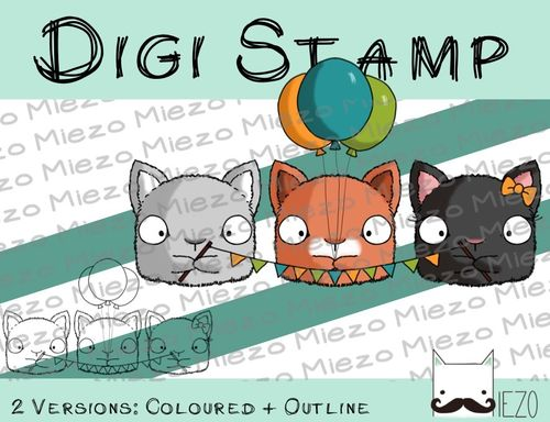 Digitaler Stempel, Digi Stamp Partymiezen, 2 Versionen: Outlines, in Farbe