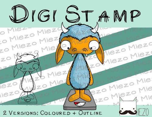 Digitaler Stempel, Digi Stamp Diätmonster, 2 Versionen: Outlines, in Farbe
