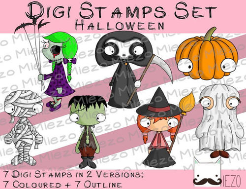Digi Stamps Set Halloween, je 2 Versionen: Outlines, in Farbe