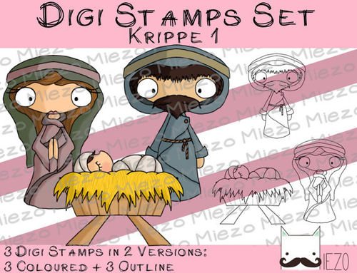 Digi Stamps Set Krippe 1, 2 Versionen: Outlines, in Farbe
