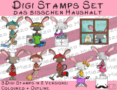 Digitaler Stempel Set, Digi Stamp Haushaltshasen, je 2 Versionen: Outlines, in Farbe