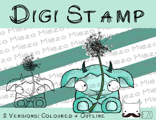 Digitaler Stempel, Digi Stamp Monster mit Pusteblume, 2 Versionen: Outlines, in Farbe