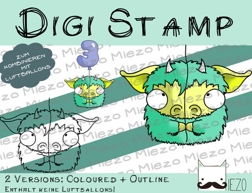 Luftballon-Tier Digi Stamp Monster, 2 Versionen: Outlines, in Farbe