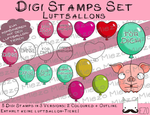 Luftballon Set, Digi Stamps, je 3 Versionen: Outlines, 2 in Farbe