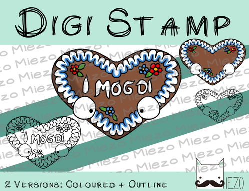Digitaler Stempel, Digi Stamp Lebkuchenherz, 2 Versionen: Outlines, in Farbe