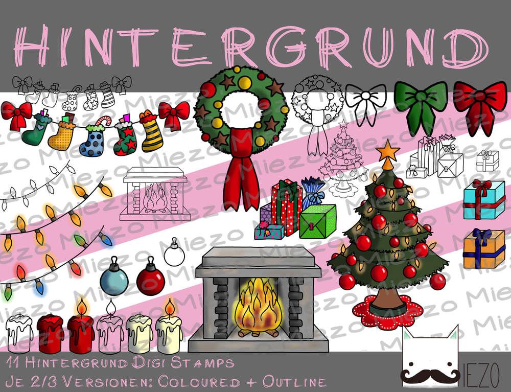Hintergrund Weihnachten.Hintergrund Digi Stamps Weihnachten 11 Stuck Je Mind 2 Versionen Outlines In Farbe