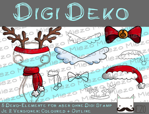 Digi Deko Xmas, Accessoires für Digistamps , je 2 Versionen: Outlines, in Farbe