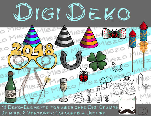 Digi Deko Silvester, Accessoires für Digistamps (2019er-Brille) , je 2 Versionen: Outlines, in Farbe
