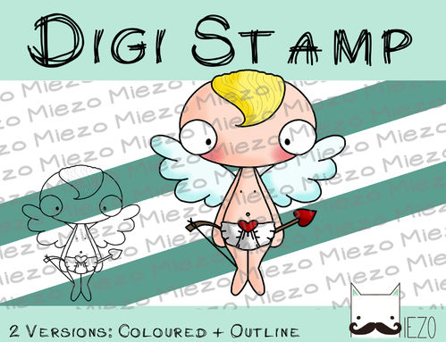 Digitaler Stempel, Digi Stamp Amor, 2 Versionen: Outlines, in Farbe