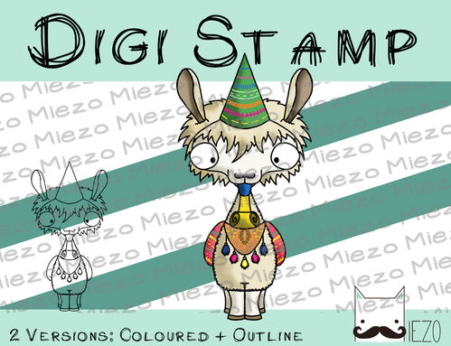 Digitaler Stempel, Digi Stamp Partylama, 2 Versionen: Outlines, in Farbe