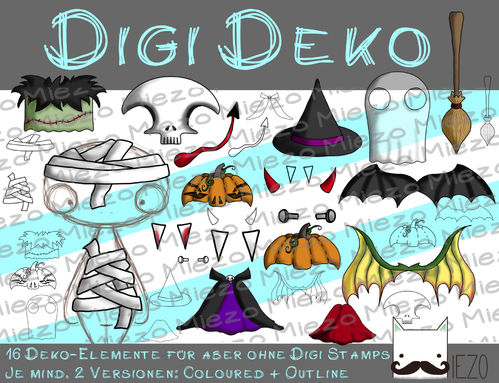 Digi Deko Halloween, Accessoires für Digistamps, je mind. 2 Versionen: Outlines, in Farbe