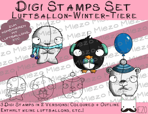 Set 3 Winter-Luftballon-Figuren, Digi Stamps, je  2 Versionen: Outlines, in Farbe