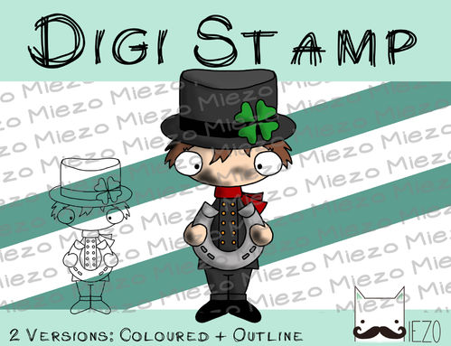 Digitaler Stempel, Digi Stamp Schornsteinfeger, 2 Versionen: Outlines, in Farbe