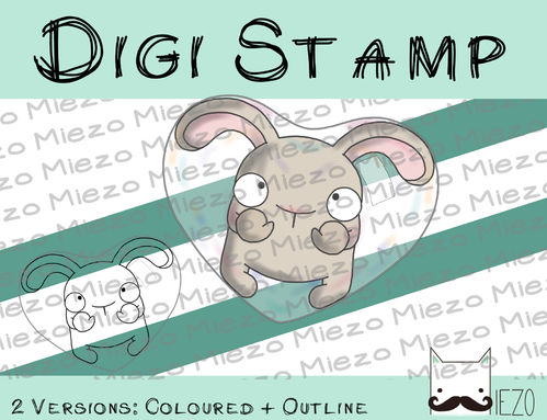 Digitaler Stempel, Digi Stamp Hase in Seifenblasenherz beige, 2 Versionen: Outlines, in Farbe