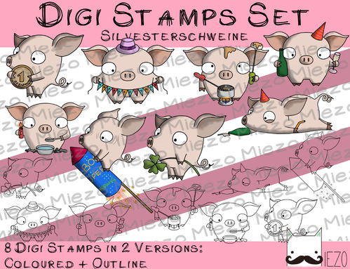 Set Digi Stamps Silvesterschweine, je 2 Versionen: Outlines, in Farbe
