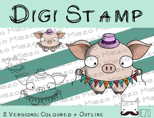 Digitaler Stempel, Digi Stamp Silvesterschwein mit Girlande, 2 Versionen: Outlines, in Farbe