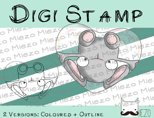 Digitaler Stempel, Digi Stamp Hase in Seifenblasenherz hellgrau, 2 Versionen: Outlines, in Farbe