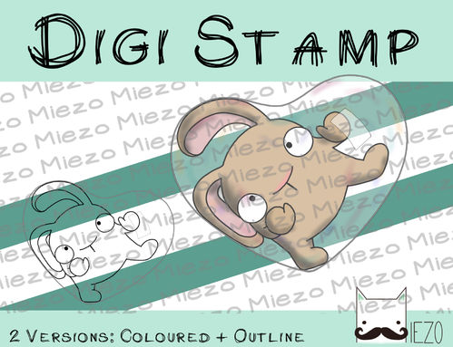 Digitaler Stempel, Digi Stamp Hase in Seifenblasenherz hellbraun, 2 Versionen: Outlines, in Farbe