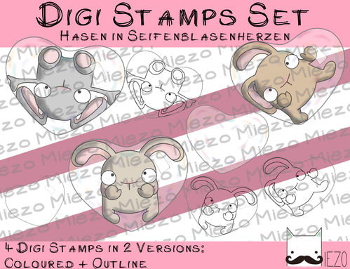 Set Digitale Stempel, Digi Stamps Set Hasen in Seifenblasenherz, je 2 Versionen: Outlines, in Farbe