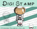Digitaler Stempel, Digi Stamp Astronaut, 2 Versionen: Outlines, in Farbe