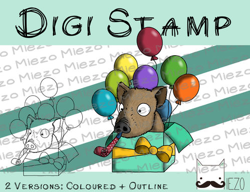 Digitaler Stempel, Digi Stamp Party-Wildschwein, 2 Versionen: Outlines, in Farbe