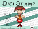Digitaler Stempel, Digi Stamp Basketballspieler mit rotem Trikot, 2 Versionen: Outlines, in Farbe