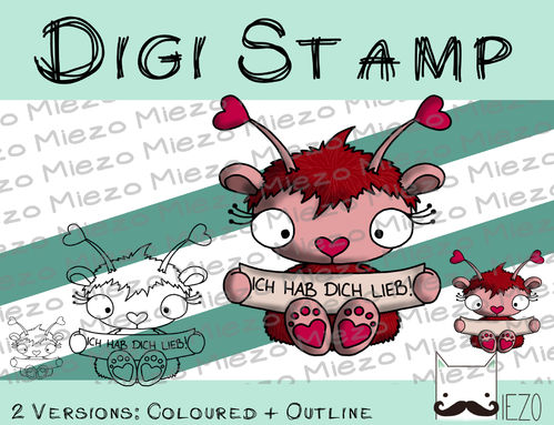 Digitaler Stempel, Digi Stamp Herzchenmonster, 2 Versionen: Outlines, in Farbe