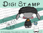 Digitaler Stempel, Digi Stamp Knirps Lamm schwarz, 2 Versionen: Outlines, in Farbe