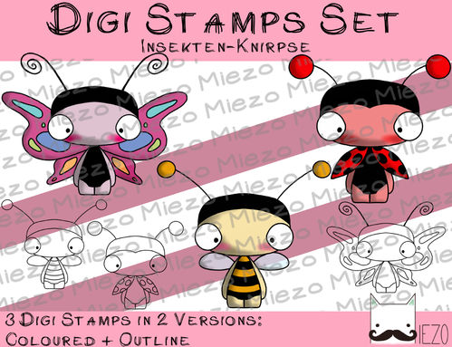 Digitaler Stempel Set, Digi Stamps Set Insekten-Knirpse, je 2 Versionen: Outlines, in Farbe