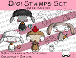 Digitaler Stempel Set, Digi Stamps Set Oster-Knirpse , 2 Versionen: Outlines, in Farbe